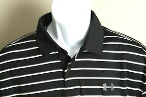 NWOT Under Armour Men's black, gray and white striped HeatGear polo shirt Large