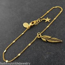 Feather Bracelet - 24k Gold Plated Brass - Like Birds of a Feather Card Gift NEW
