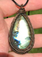 Artisan Copper Wire Wrapped Labradorite Pendant Necklace Handcrafted