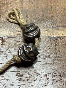 Antique Tibetan sky iron shmashana beads MALA beads accessories 2ps