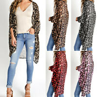 Womens Long Sleeve Leopard Open Front Cape Jacket Blouse Top Cardigan Kimono