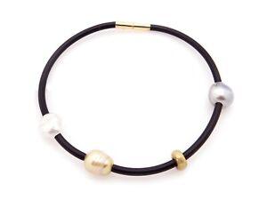 18k Yellow Gold Keshi South Sea Baroque Gray Tahitian Pearl Bracelet 9 inch