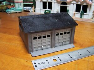 Two Car Garage * O - S Scale Custom * Plasticville * American Flyer * Grey