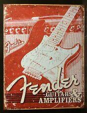 Retro Fender Guitar & Amp TIN SIGN Bar Garage Vtg Metal Wall Decor 30x40cm