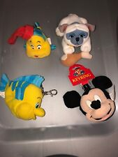 Disney Mickey Mouse & Flounder Keyrings Plus Plush And Percy Finger Puppet Box A