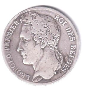 BELGIUM LARGE SILVER 5 FRANCS DATED 1833. POS B. **REASONABLE GRADE**