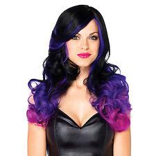 Perruque aux cheveux longs et ondulés 2 couleurs Violet