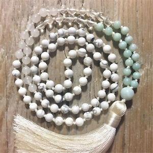 Natural Howlite 108 Beads Handmade Tassel Necklace Religious Healing