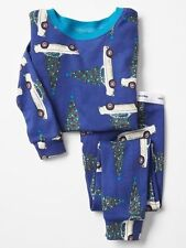 GAP Baby Boys Size 6-12 Months Blue Festive Christmas Tree / Car Pajama PJ Set