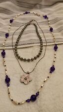 JEWELRY LOT SET 3 NECKLACES BEADED PENDANT ENAMEL RHINESTONE   mar3