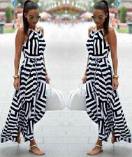 AU Womens Sleeveless Maxi Boho Dress Summer Evening Beach Party Long Sundress