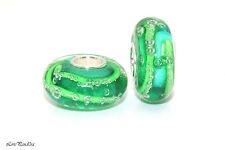Green Bubbles Murano Glass Bead 925 Sterling Silver Single Core 4 Charm Bracelet
