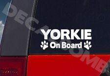 Yorkie On Board paw print decal / sticker dog puppy terrier