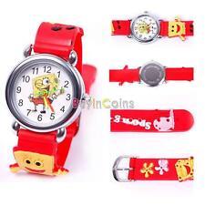 Cartoon Sponge 3D Child Boy Girl Kid Baby Analog Quartz Wristwatch Rubber SY