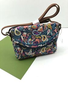 Sakroots Pacifica Mini Crossbody Canvas Enchanted Forest Teal Vegan New NWT
