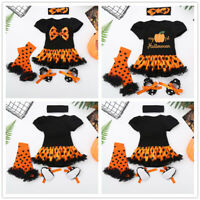 Infant Baby Girls Halloween Party Romper Outfit Set Pumpkin Print Birthday Cloth