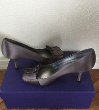 STUART WEITZMAN Gigi Satin Ruffled Slip On Peep-Toe Heels Gray Shoes.SZ:6 M