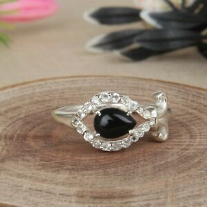 Womens Engagement Gift Black Onyx Ring 925 Sterling Silver Gemstone Jewelry