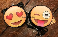 EMOJI SMILEY HEARTS FACE BLACK YELLOW BAG PRIMARK FUN CUTE HOLIDAY BAG EMOTICON