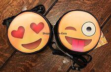 EMOJI SMILEY HEARTS FACE BLACK YELLOW BAG PRIMARK FUN CUTE HOLIDAY BAG EMOTICON