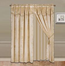 8piece gold nada luxury faux jacquard floral panel window curtain drape set