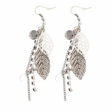 Women's Vintage Bohemian Boho Style Silver Plated Alloy Leaves Dangle Earrings