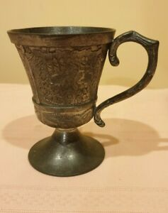 Vintage Collectible Mythical Ireland Mullingar Pewter Drinks cup /Ornate Handle