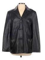 Anne Klein Womens Jacket Coat S Black 100% Leather 3 Button Blazer Overcoat
