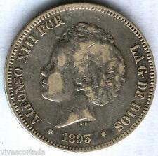 Alfonso XIII 5 Pesetas 1893 * 93 PGV @ BUEN  EJEMPLAR @