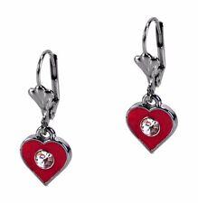 Red Heart Dangle Enamel Crystal Fashion Earrings Leverback Grace Of New York
