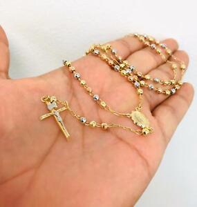 """Rosario de la Virgen de Guadalupe en Oro Real 14K, Rosary 20"""" 10.9g Beads 3.7mm."""