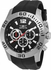 NEW MENS INVICTA (20294) PRO DIVER BLACK RUBBER STRAP SILVER TONE WATCH