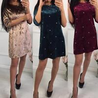 Fashion Velvet Pearl Beaded Dress Autumn Winter Vintage Straight Mini Dress Kits