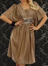 Trendy Femme Girly Robe Tunique Argent Pierres Satin Brillant 34/36/38 or Marron