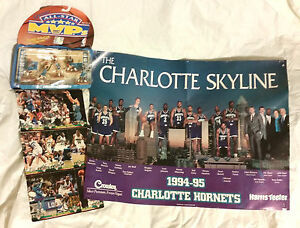 """NBA """"Charlotte Hornets"""" 1993 - 1997 Team Collection Cards, Poster & Figures"""