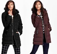 OLD NAVY Womens Long Quilted Faux Fur Trim Winter Jacket Coat S,M NEW NWT!