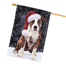 Christmas Holiday American Staffordshire Terrier Dog Santa House Flag Flg54469