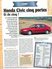 Honda Civic Cinq Portes 1.8 Vti  4 Cyl. 1997 Japan Car Auto Voiture FICHE FRANCE