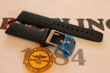 100% Genuine New OEM Breitling Black Rubber Diver Pro 3 Tang Buckle Strap 18-16m