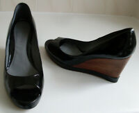 JIGSAW Black Open Toe Platform Wedge Heels Court Shoes Size EU 38 UK 5 RRP £135
