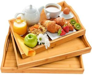 Serving Tray With Handles - Wood Bamboo Trays For Food Breakfast Dinner Party, 3