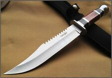SURVIVOR HUNTING SAW BACK BOWIE FIXED BLADE KNIFE WOOD HANDLE 10.5 INCH OVERALL
