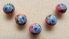 5 Japanese Tensha Beads BLUE ROSE on PINK ROUND Beads 12mm