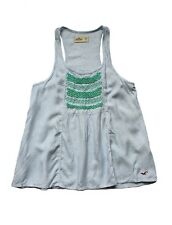 NEW HOLLISTER WOMEN STRIPED EMBROIDERED LOOSE FIT TANK TOP CAMI SHIRT BLOUSE XS
