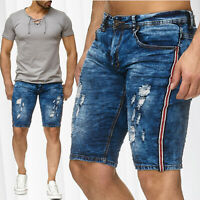 Herren Bermuda Destroyed Jeans Shorts Leeyo Stretch Denim Capri Hose Kurz Sommer