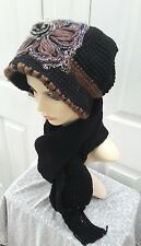 Ladies Black brown knitted set hat and scarf warm for Autumn/winter one size*