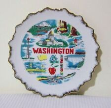 Washington State Souvenir Plate Mount Rainier Puget Sound Olympia Vintage