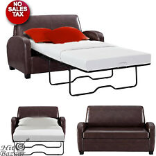CONVERTIBLE SOFA LEATHER COUCH Twin Bed Mattress Sleeper Small Loveseat Brown