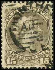 Canada #30a used F-VF 1873 Queen Victoria 15c greenish grey Large Queen CDS