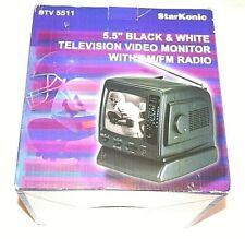 "StarKonic Btv 5511 5.5"" Black&White Television Video Monitor with Am/Fm Radio"